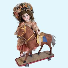 Antique German Pull Toy Horse on Wood Platform