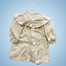 White linen long sleeve Kate Greenaway style dress for large doll
