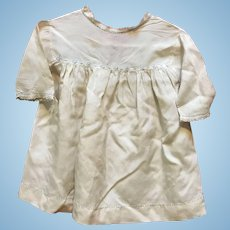 White cotton dress with blue trim for large doll.