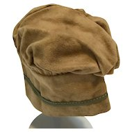 Cream wool flannel hat for doll or bear