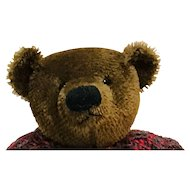 Hand made old-style brown artist bear with sweater 14""