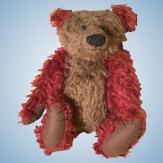Gold and Red mohair artist teddy bear
