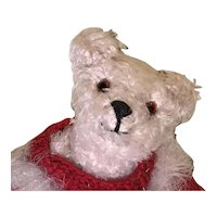 Small white shaggy mohair artist polar bear with sweater