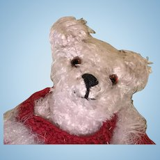 Small white shaggy mohair artist polar bear with sweater