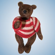 Small brown mohair artist teddy bear with striped sweater
