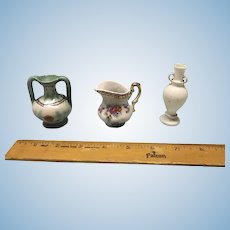 China pitcher and two vases - doll size