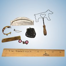 French Fashion accessories - combs, scale, purse