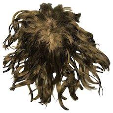 Dark brown wavy mohair wig with bangs