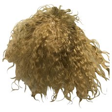 """Small hand made golden blonde curly mohair wig with  bangs 5"""""""