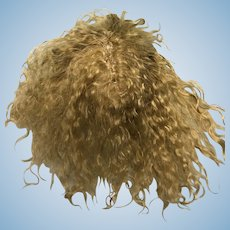 Small hand made golden blonde curly mohair wig with  bangs 5""