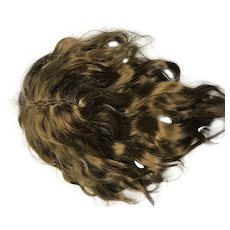 """Hand made brown wavy mohair doll wig no bangs - size 7.5"""""""
