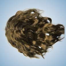 Hand made brown wavy mohair doll wig no bangs - size 7.5""