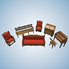 Dollhouse living room furniture with two desks