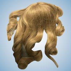 """Medium blonde human hair doll wig with banana curls and bangs 8"""""""