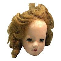 Hard plastic doll head sleep eyes open mouth