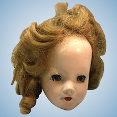 Hard plastic doll head sleep eyes open mouth