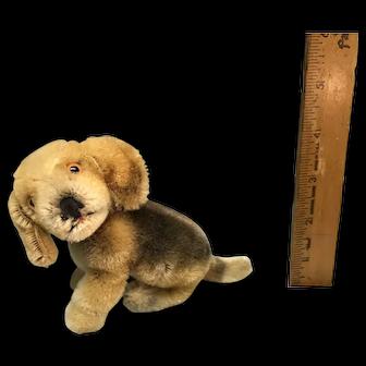 Small mohair beagle dog sitting - likely Steiff