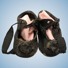 Small black oilcloth French bebe doll shoes