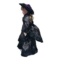 Black pattern silk walking suit dress plus hat for French Fashion doll