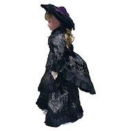 Black pattern silk walking suit dress plus hat for French Fashion doll