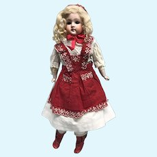 Pouty Kestner blonde girl doll - kid body ethnic costume