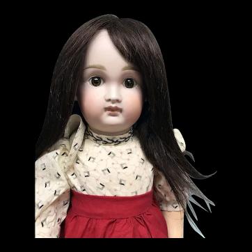 "12"" Dark Brown straight hair mohair wig - Hand Made"