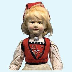 "Ronnaug Petterssen all cloth girl doll 16"" rare size"