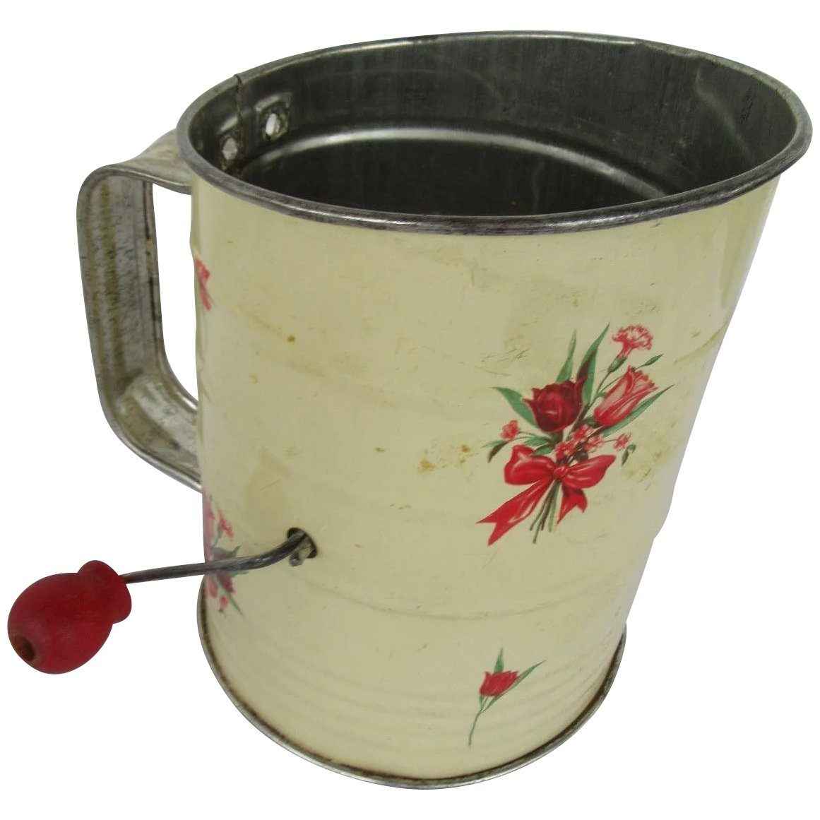 Vintage Flour Sifter With Red Handle And Tulip Design