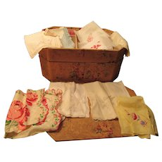 Nine Lovely Handkerchiefs Vintage Cardboard Sewing Box