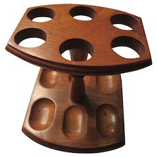 Vintage Wooden Pipe Stand For Six Pipes
