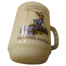 Holly Hobbie and Robby Fishing Anchor Hocking 1980 Ovenproof Mug