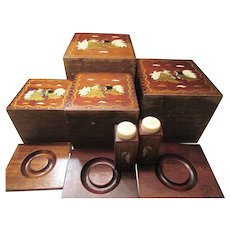 1950s Wooden Rooster Canister Set & Salt and Pepper Shakers