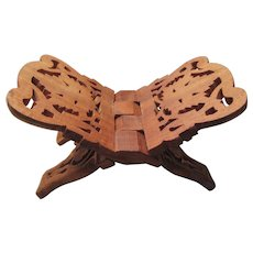 Carved Wooden Cookbook or Bible Folding Stand India