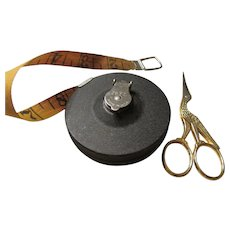 Vintage Measuring Tape U.S.A. and Stork Sewing Scissors Italy