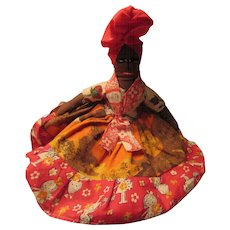 Mammy Folk Art Cloth Doll Hand Stitched Face Haiti