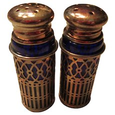 Retro Silver Plate Cobalt Blue Raimond Japan Shakers