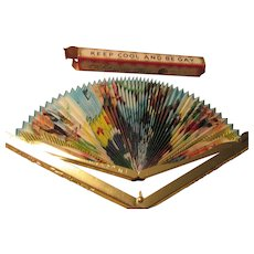 """""""Keep Cool And Be Gay"""" Folding Fan Purse Size 1940s"""