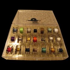 Sewing Machine Metal Bobbin Plastic Case with 21 Bobbins