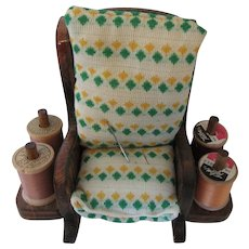 Sewing Caddy Rocking Chair with Thread and Needles