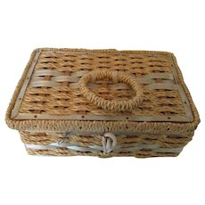 Vintage Sewing Basket with Notions 1960s