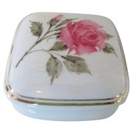 """""""What The World Need Now"""" Rose Pattern Trinket Box 1987"""