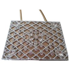 1950s Evening Purse Crystals Outside and Makeup Inside