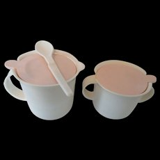 Vintage Tupperware Sugar and Creamer with Lids and Spoon