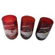 Kansas City 1850 to 1950 Trio of Red Glasses