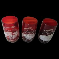 Kansas City 1850 to 1950 Trio of Red Glasses
