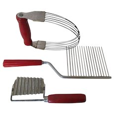Red Handle Vintage Baking Utensils -Useful or for Display
