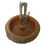 1950s Rustic Log Bowl with Nut Cracker and Picks