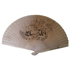 Chinese Vintage Fan with Pandas and Ornate Design