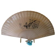 Vintage Chinese Fan Hong Kong Temple and Bird Carved Wooden Fan