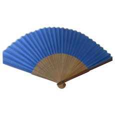 Chinese Vintage Fan Wooden with Blue Silk and Carved Base